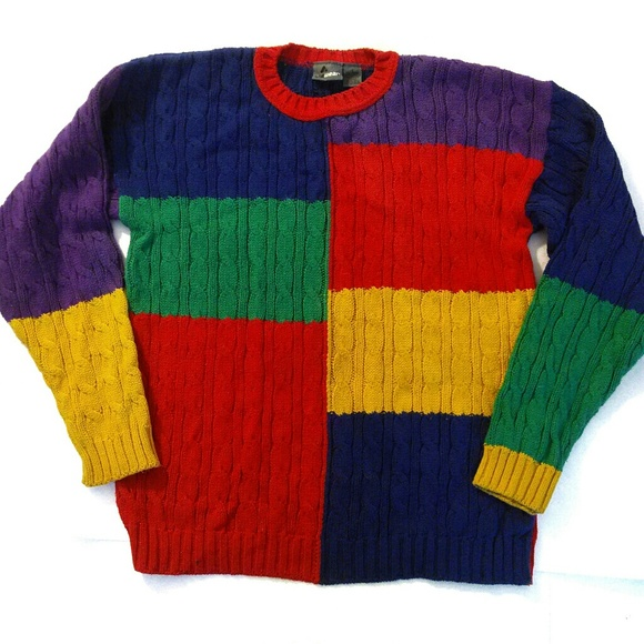 Sweaters - Lizwear 90's VTG Colorblock Chunky Cable Sweater S